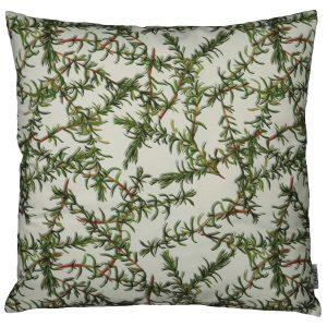 Dekokissen mit floralem Druckdesign, Rosmarinzwige auf weissem Grun, mit Reissverschluss, weiss grün